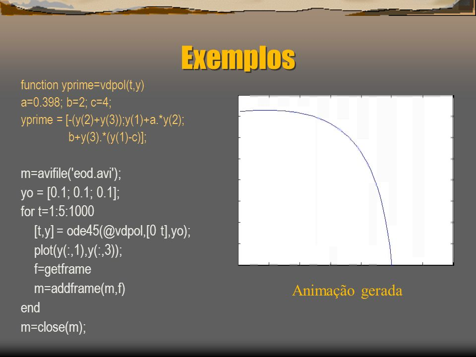 Exemplos Animação gerada m=avifile( eod.avi ); yo = [0.1; 0.1; 0.1];